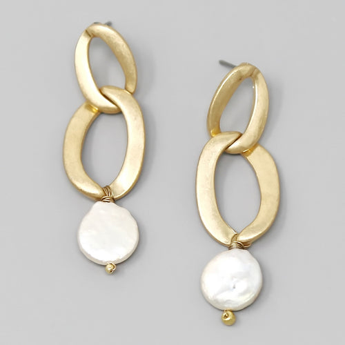 Linked Hoop Freshwater Pearl Drop Earrings