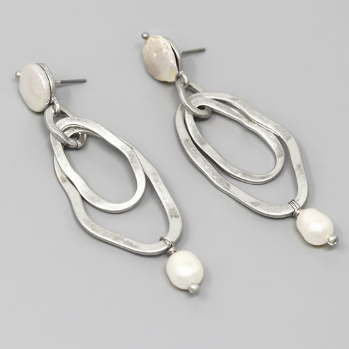 Double Hoop With Pearl Drop Earrings