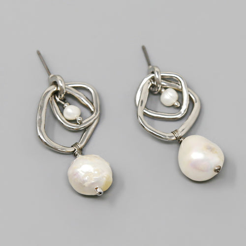 Double Hoop With Freshwater Pearl Drop Earrings