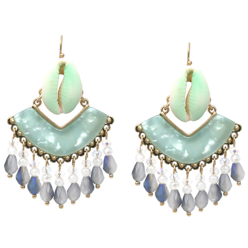 Paint Dipped Puka Shell Acrylic Glass Beads Drop Earrings