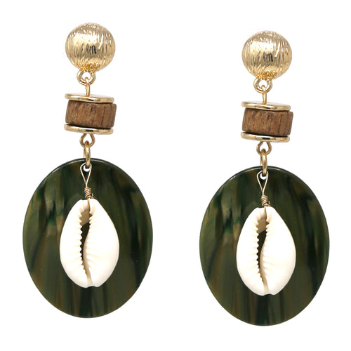 Acrylic and Wood Puka Shell / Metal Shell Drop Earrings
