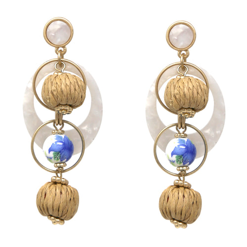 Raffia and Painted Bead Acetate Hoop Drop Earrings