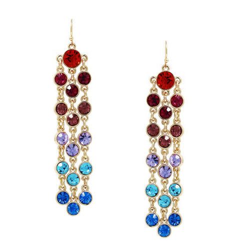 Glass Stone Pave Triple Strand Drop Earrings