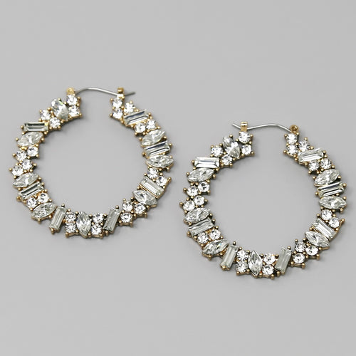 Stone Cluster Wreath Hoop Earrings