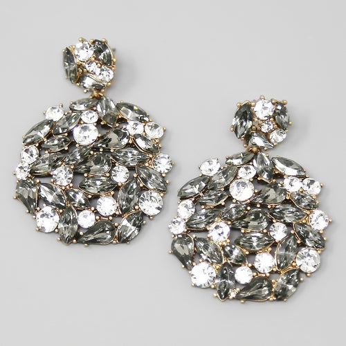 Glass Stone Pave Chunky Disc Statement Earrings