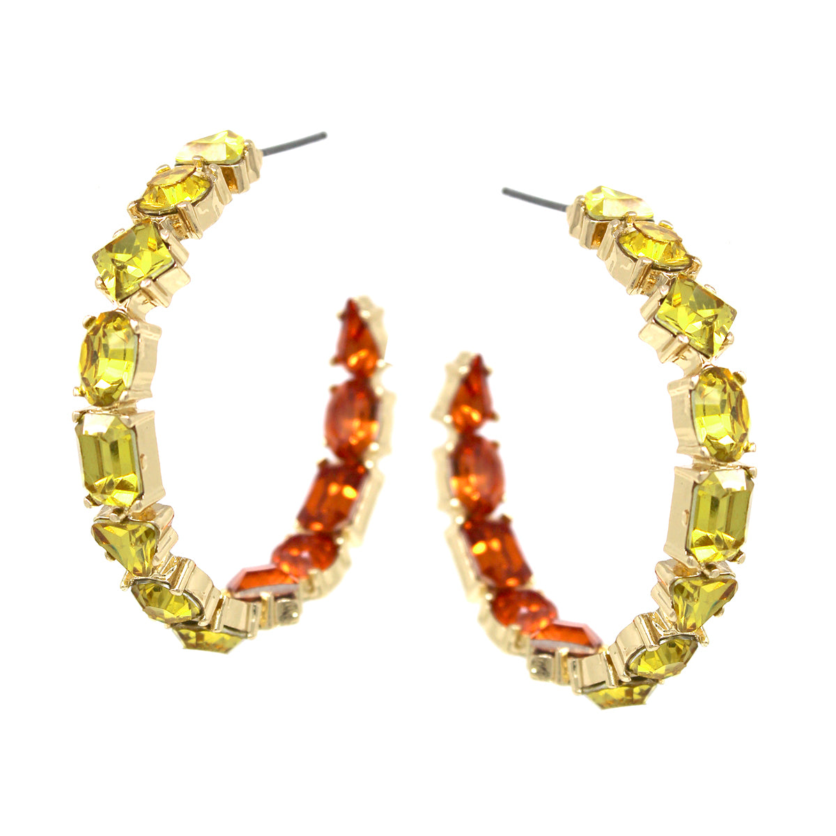 Glass Stone Pave Inside-Out Hoop Earrings