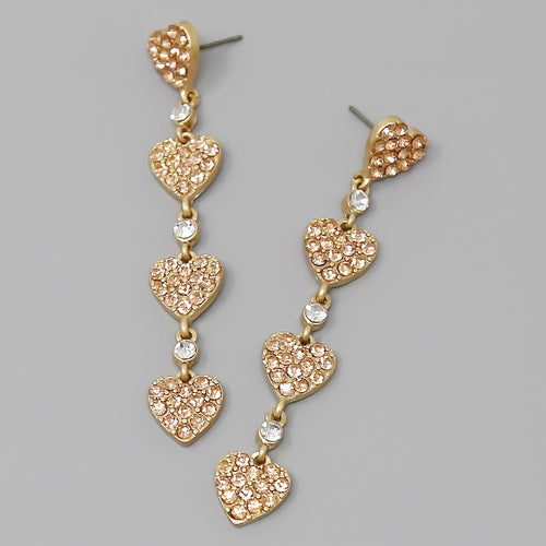 Glass Stone Pave Heart Linear Statement Earrings