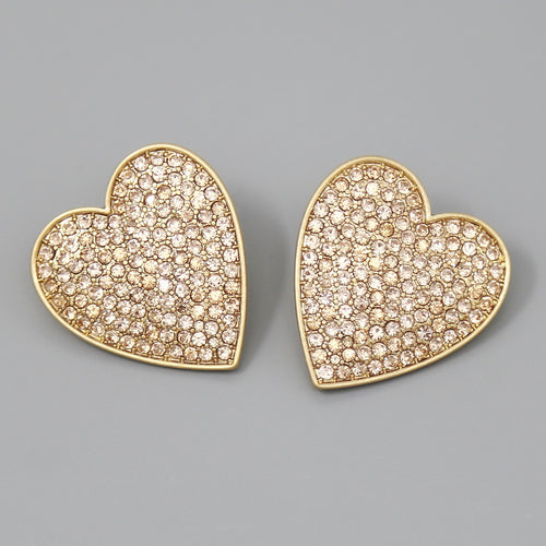 Rhinestone Pave Oversize Heart Stud Earrings