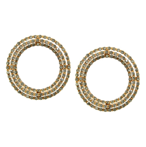 3 Row Glass Stone Pave Hoop Stud Earrings