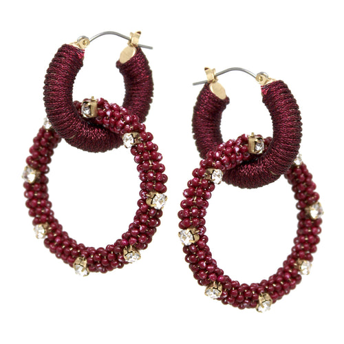 Thread/ Seed Bead Wrapped Hoop Linked Drop Earrings