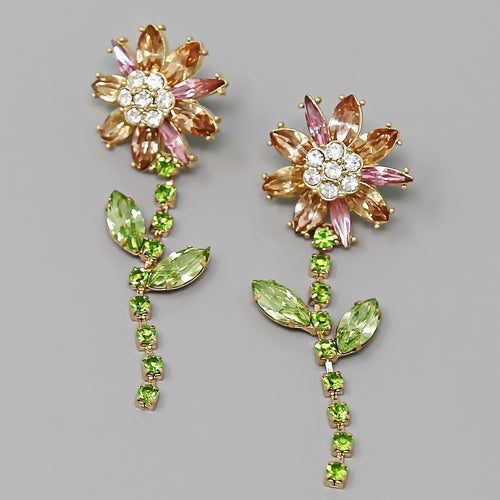 Daisy Flower Glass Stone Pave Statement Earrings