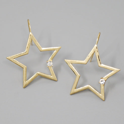 Metal Star With Glass Stone Drop Earrings