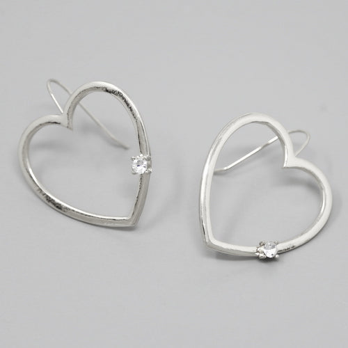 Metal Heart With Glass Stone Drop Earrings