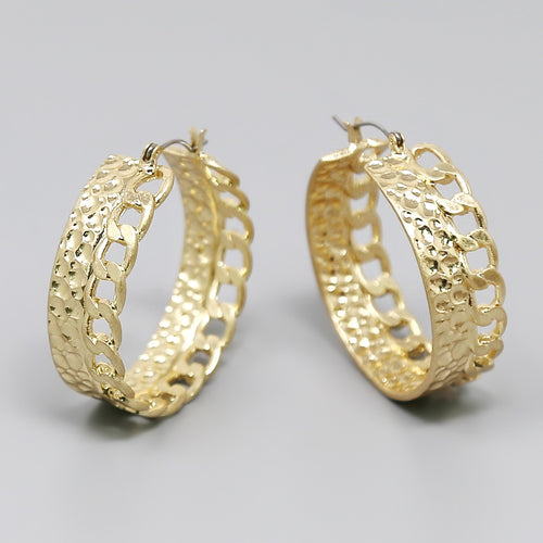 Hammered Metal With Linked Chain Chunky Hoop Earrings