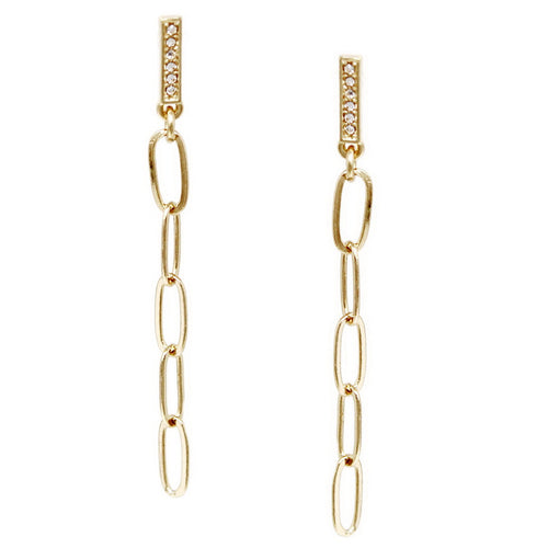 Glass Stone Pave Bar Linked Chain Drop Earrings