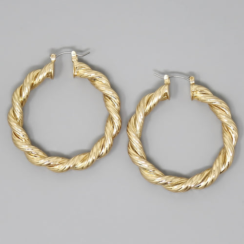 Rope Chain Metal Hoop Earrings