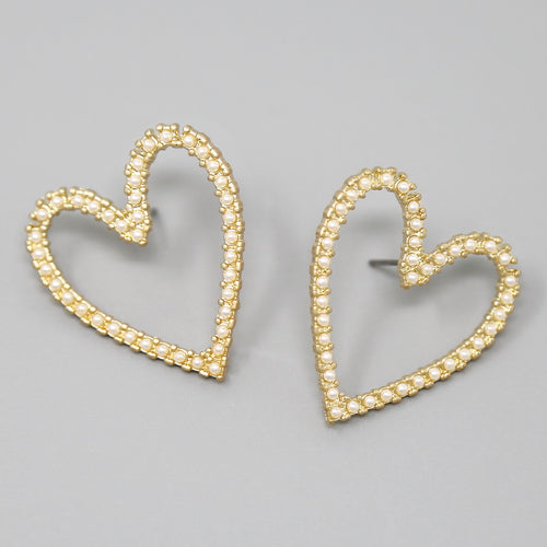 Pearl / Glass Stone Pave Heart Stud Earrings