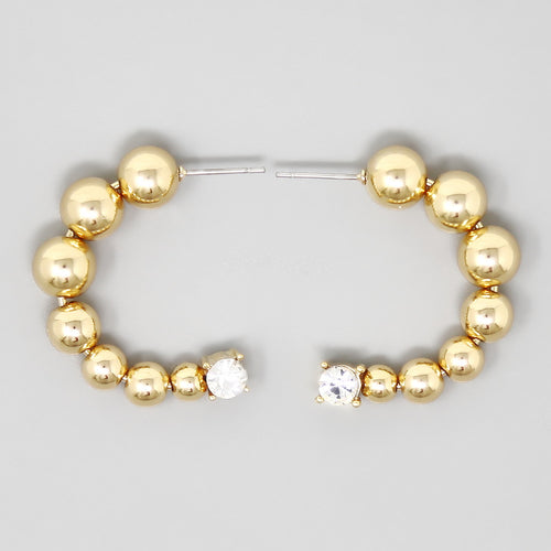 Metal Ball Beaded Hoop Earrings