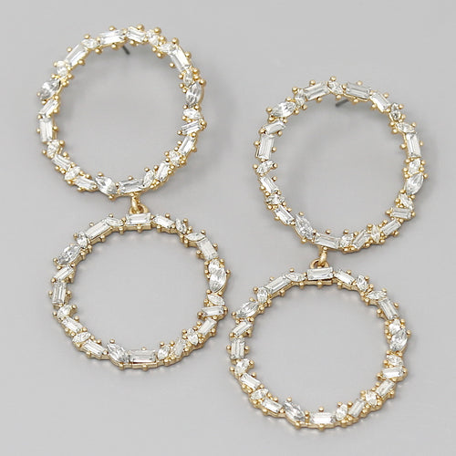 Glass Stone Pave Double Hoop Drop Earrings