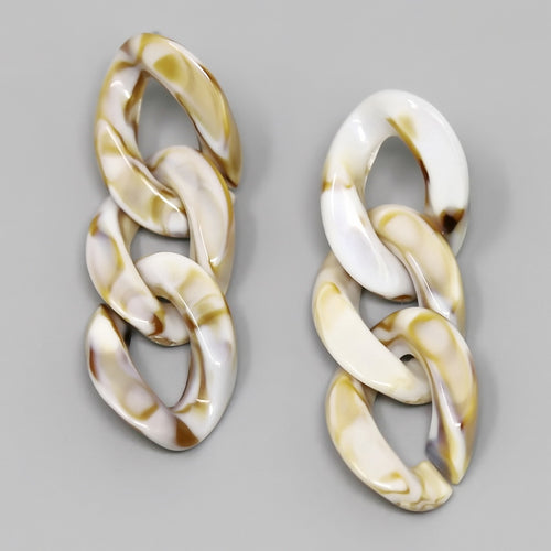 Acetate Triple Link Drop Earrings