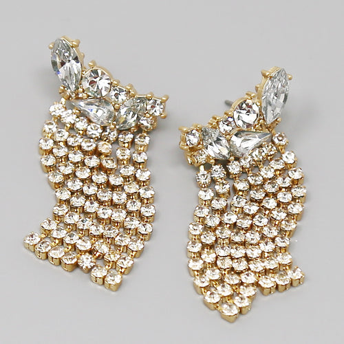 Glass Stone Cluster With Fringe Statement Earrings
