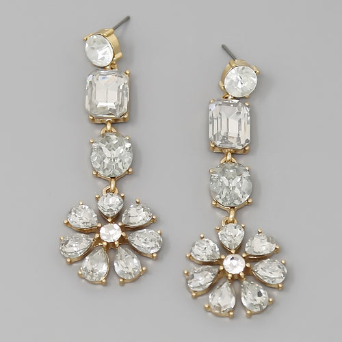Glass Stone Pave Flower Drop Earrings
