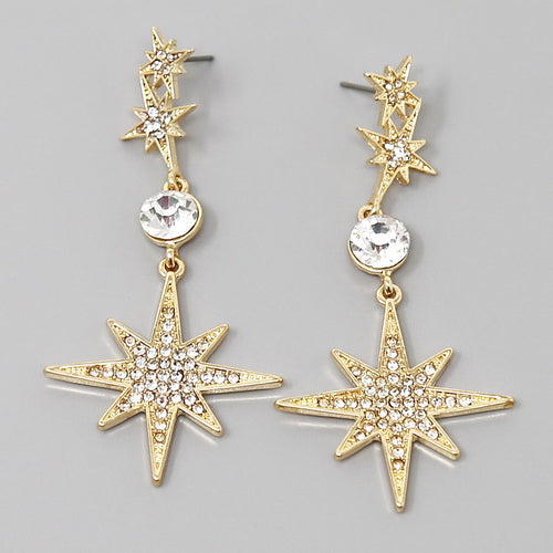 Glass Stone Pave Starburst Drop Earrings