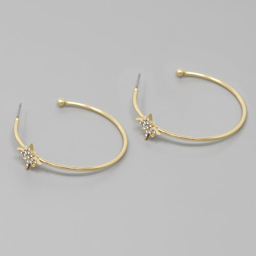 Glass Stone Embellished Starburst Hoop Earrings