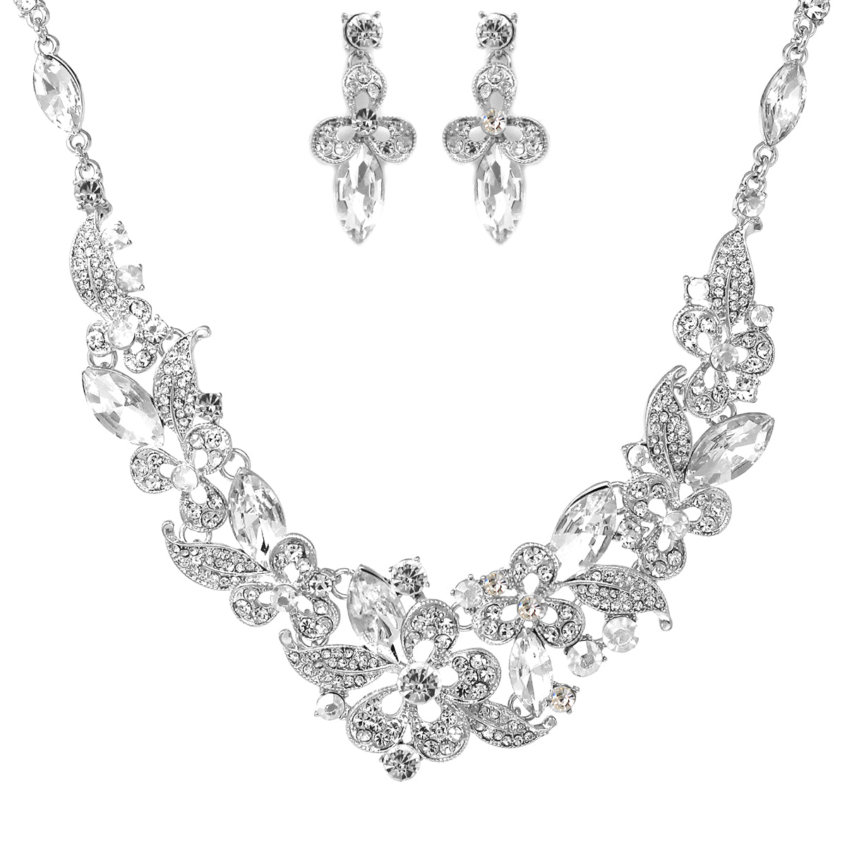 Glass Stone Pave Floral Necklace Set