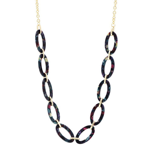 Oval Acetate Link Long Necklace