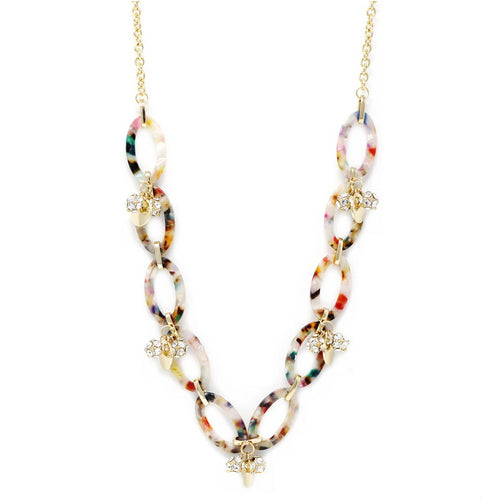 Oval Acetate Glass Embellished Ball Charm Link Long Necklace
