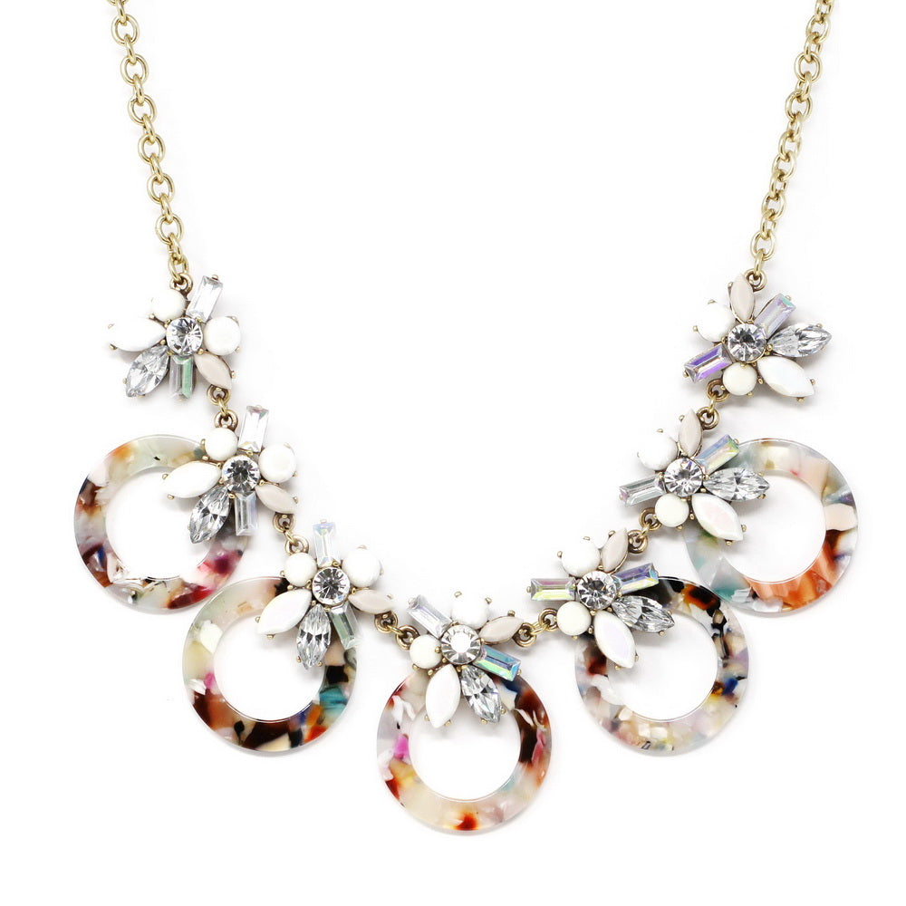 Vivid Summer Edition Acrylic Flower Acetate Circle Statement Necklace