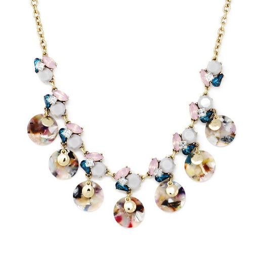 Vivid Summer Edition Acrylic Flower Acetate Disc Statement Necklace