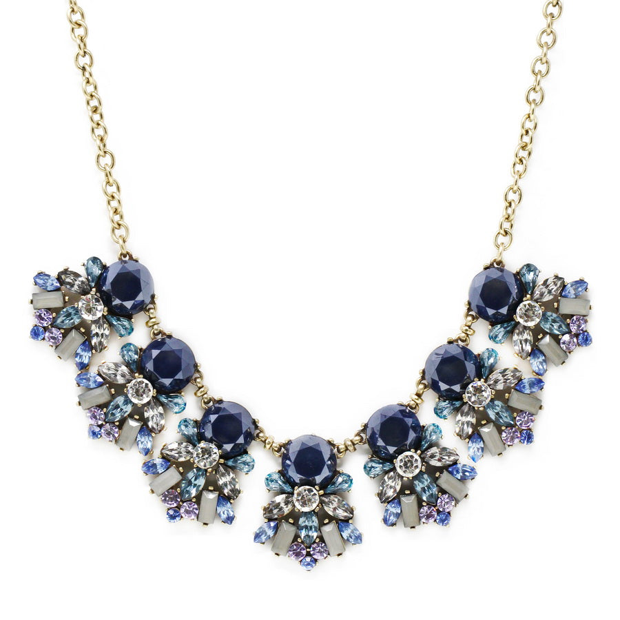 Acrylic Round Stone With Glass Flower Cluster Statement Necklace