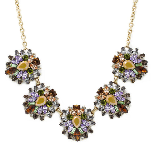 Chunky Glass Stone Cluster Statement Necklace