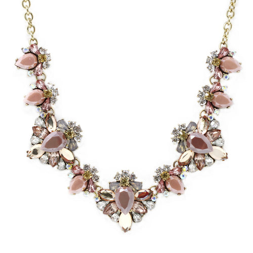 Linked Glass Stone Flower Cluster Statement Necklace