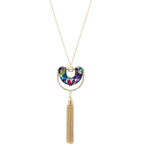 Acetate And Rhinestone U Shape Pendant With Chain Tassel Long Necklace