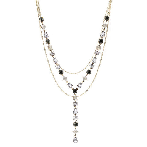 Layered Delicate Chain Glass Stone Y Shape Statement Necklace