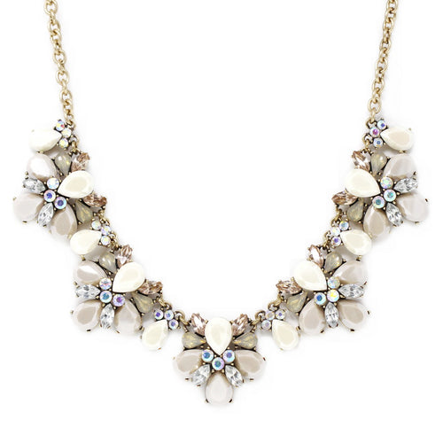 Acrylic And Glass Stone Chunky Floret Statement Necklace