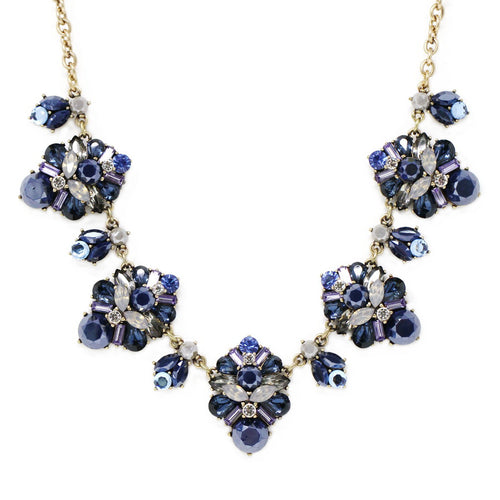 Acrylic And Glass Stone Floret Statement Necklace