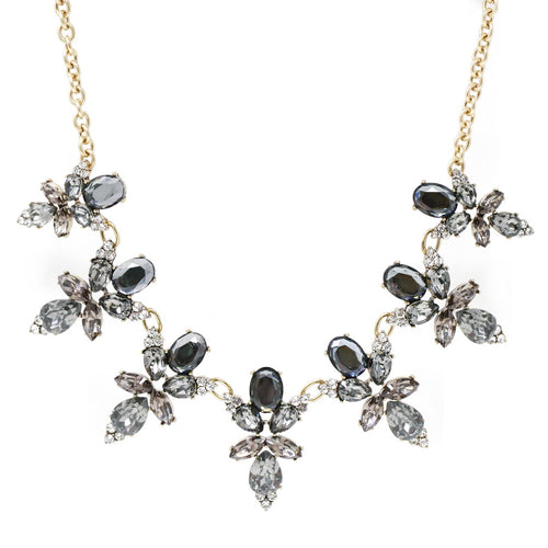 Glass Stone Flower Cluster Statement Necklace