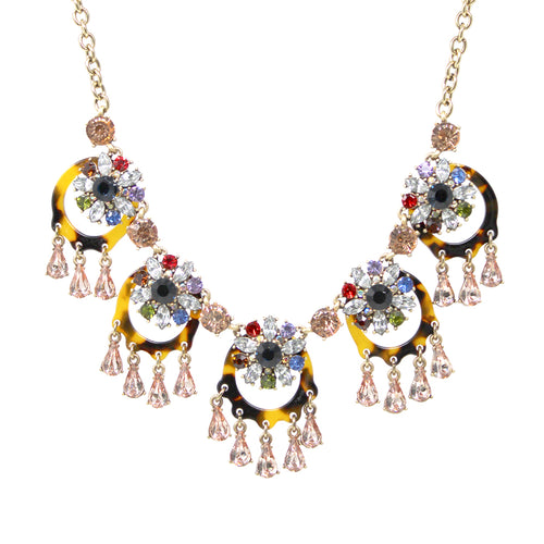 Floral Stone Cluster And Acetate Hoop With Teardrop Stone Fringe Statement Short Necklace