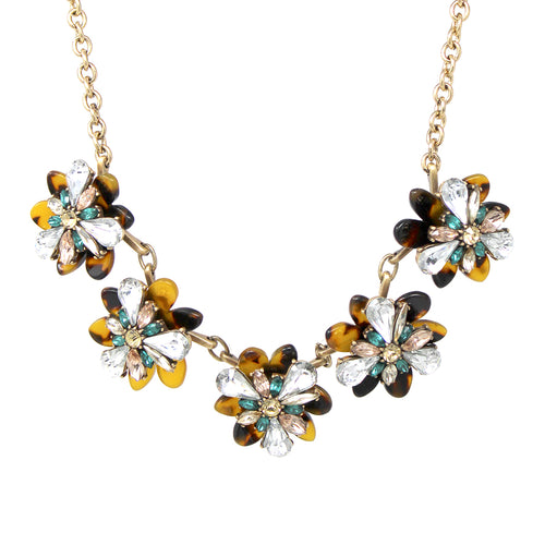 Floral Stone Cluster With Acetate Statement Short Necklace