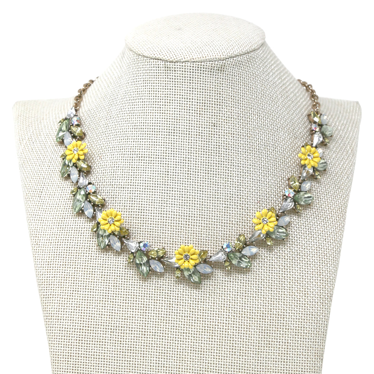 Flower Embellished Marquise Stone cluster Short Necklace