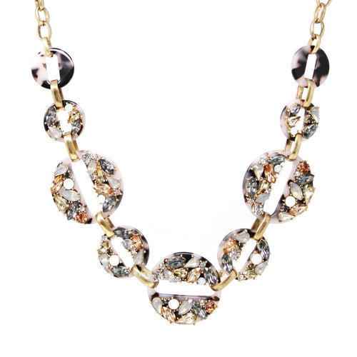Glass Stone Embellished Acetate Linked Disc Statement Necklace