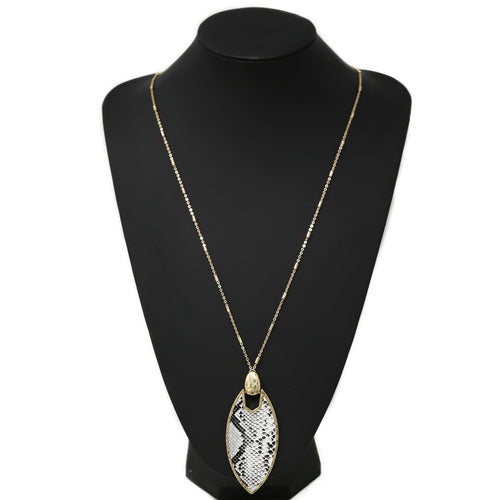 Animal Print Leather Marquise Shape Pendant Long Chain Necklace