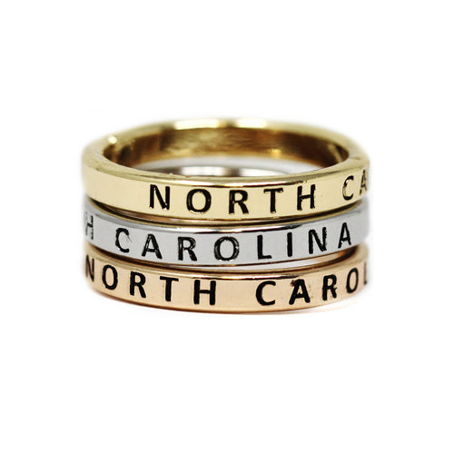 NORTH CAROLINA Inspirational Tri Tone Ring Set