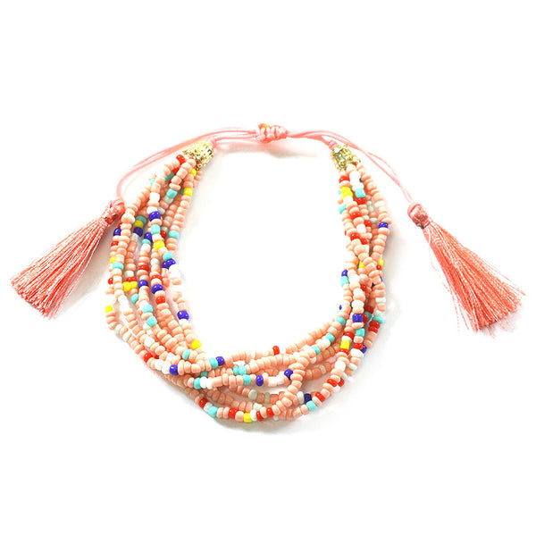 Multi Strands Seed Beads with Tassel Sliding Knot Bracelet