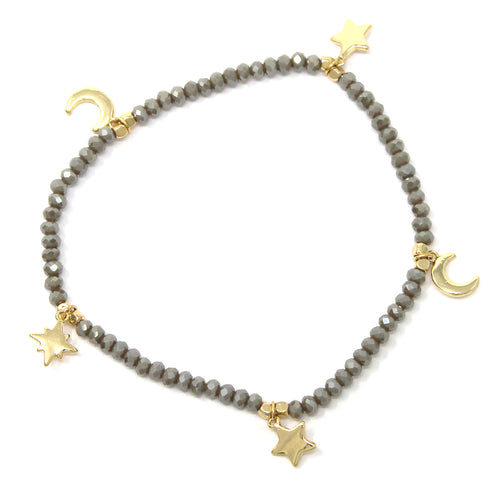 Metal Star And Moon Fringe Glass Beaded Stretch Bracelet