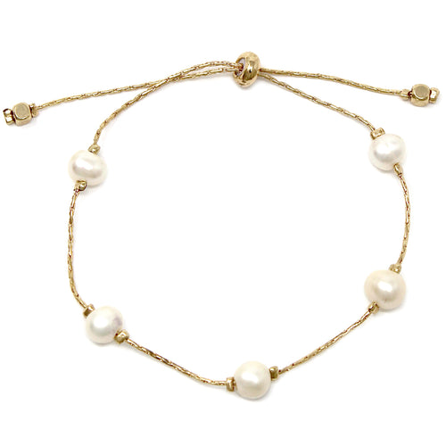Freshwater Pearl Bead Bracelet With Sliding Bead